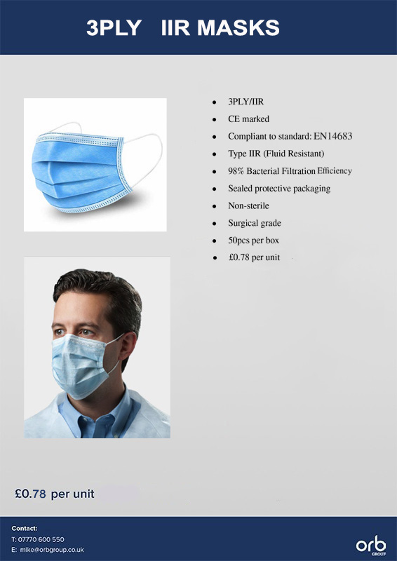 3PLY IIR Masks  50pcs per box AVAILABLE NOW