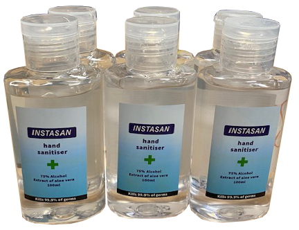 6 pack of 100ml hand sanitiser